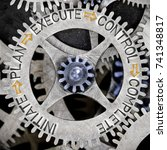 Small photo of Macro photo of tooth wheel mechanism with INITIATE, PLAN, MONITOR, CONTROL, EXECUTE and COMPLETE words imprinted on metal surface