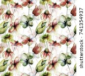 seamless wallpaper with summer... | Shutterstock . vector #741354937