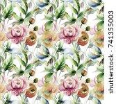 seamless wallpaper with wild...   Shutterstock . vector #741355003