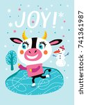 card with a cute cow. joy....   Shutterstock .eps vector #741361987