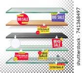 empty shelves  advertising...   Shutterstock .eps vector #741368497