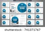 desk calendar 2018 template  ... | Shutterstock .eps vector #741371767