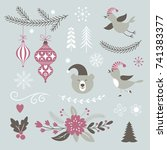 christmas design elements set | Shutterstock .eps vector #741383377