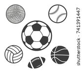 set sport balls icon. black...   Shutterstock .eps vector #741391447