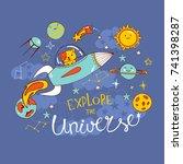 cute dog on a rocket in a deep...   Shutterstock .eps vector #741398287
