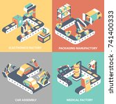 factory automation vector flat... | Shutterstock .eps vector #741400333