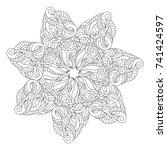 mandala for coloring. monochrom ... | Shutterstock .eps vector #741424597