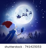 merry christmas and happy new... | Shutterstock . vector #741425053