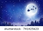merry christmas and happy new... | Shutterstock . vector #741425623