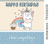 happy birthday card  with... | Shutterstock .eps vector #741426133