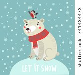 polar bear and bird. christmas... | Shutterstock .eps vector #741434473