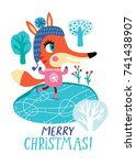 christmas card with a cute fox. ... | Shutterstock .eps vector #741438907