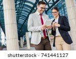 business woman and man working... | Shutterstock . vector #741441127