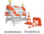 road closed sign with traffic... | Shutterstock . vector #741445513