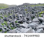 upright defensive stone slabs... | Shutterstock . vector #741449983