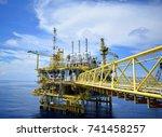 offshore platform of the in sea ...   Shutterstock . vector #741458257