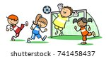 boys and girls playing soccer... | Shutterstock . vector #741458437