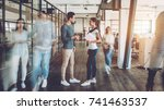 young creative people in modern ... | Shutterstock . vector #741463537