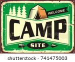 camp site welcome sign with... | Shutterstock .eps vector #741475003