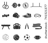 set of sports inventory. black... | Shutterstock .eps vector #741521377