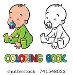 funny small baby  boy or girl ...   Shutterstock .eps vector #741548023