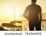 engineer or safety officer... | Shutterstock . vector #741564493