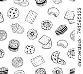 seamless pattern of pastry food ... | Shutterstock .eps vector #741565123