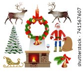 set of christmas elements and... | Shutterstock .eps vector #741567607