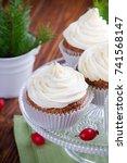homemade christmas cupcakes... | Shutterstock . vector #741568147