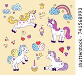 unicorns vector collection.... | Shutterstock .eps vector #741568993
