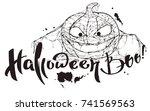 halloween boo text. pumpkin... | Shutterstock . vector #741569563