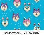 seamless pattern with huskys or ... | Shutterstock .eps vector #741571087