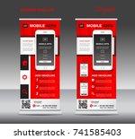 mobile apps roll up banner... | Shutterstock .eps vector #741585403