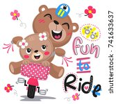 happy cartoon cute bears riding ...   Shutterstock .eps vector #741633637