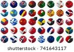 waving world flags set  brush...   Shutterstock .eps vector #741643117