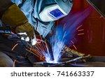 welder  craftsman  erecting... | Shutterstock . vector #741663337