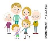 family three generations... | Shutterstock .eps vector #741666553