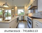 amazing kitchen design with... | Shutterstock . vector #741686113