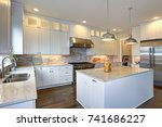 amazing white kitchen design... | Shutterstock . vector #741686227