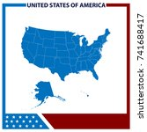 map usa with american flag frame | Shutterstock .eps vector #741688417