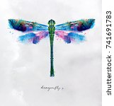 Stock vector monotype vivid colorful dragonfly drawing with different colors on paper background 741691783