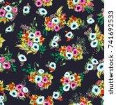 seamless pattern in bright... | Shutterstock .eps vector #741692533