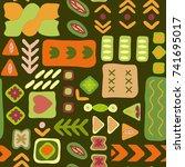 vector flower pattern. colorful ... | Shutterstock .eps vector #741695017