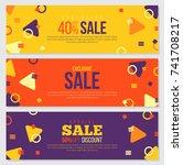 memphis style banner design set ... | Shutterstock .eps vector #741708217