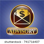 shiny badge with envelope with ... | Shutterstock .eps vector #741716407
