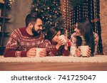 three beautiful relatives at... | Shutterstock . vector #741725047