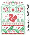 elegant christmas scandinavian  ... | Shutterstock .eps vector #741725413