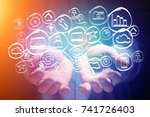 view of a technology hand drawn ... | Shutterstock . vector #741726403