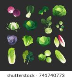 clip art cabbage collection... | Shutterstock .eps vector #741740773