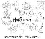 happy halloween hand drawn... | Shutterstock .eps vector #741740983